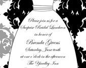 Printable Elegant Wedding Dress Bridal Shower Invitation