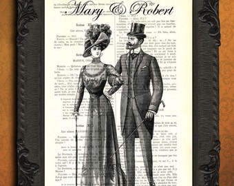 custom print custom couple print victorian couple in love print personalized wedding gift