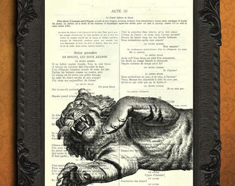 tiger - tiger dictionary print - upcycled french book page art print - vintage home decor
