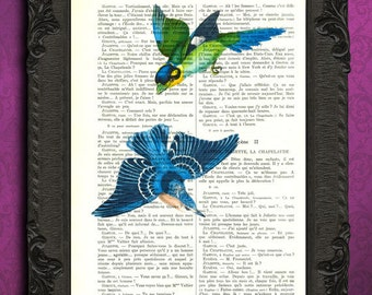Bird artwork flying birds blue bird art print vintage dictionary page book art print recycled upcycled repurposed green bluebird