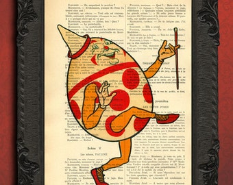 Humpty Dumpty print on vintage dictionary paper humpty dumpty from alice in wonderland