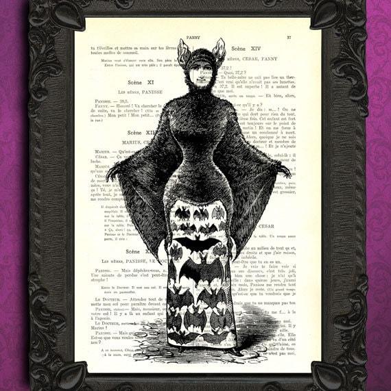 Women's halloween costume dictionary art print halloween print