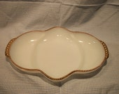 Vintage Fire King Anchor Hocking Divided Relish or Candy Dish Milk Glass Gold Rimmed