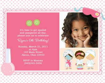 Spa Photo Birthday Invitations | Custom Design | Professionally Printed Card Stock | Boy Girl Twin Sibling Stationery Best Unique