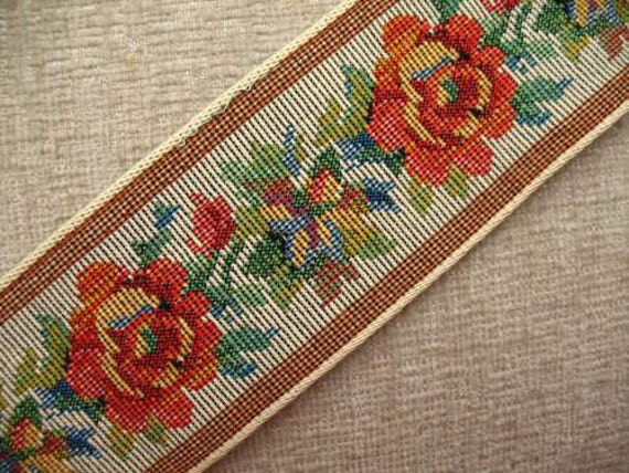 Vintage 70s Petit Point Roses Wide Woven Braid Trim 2.5 Yards