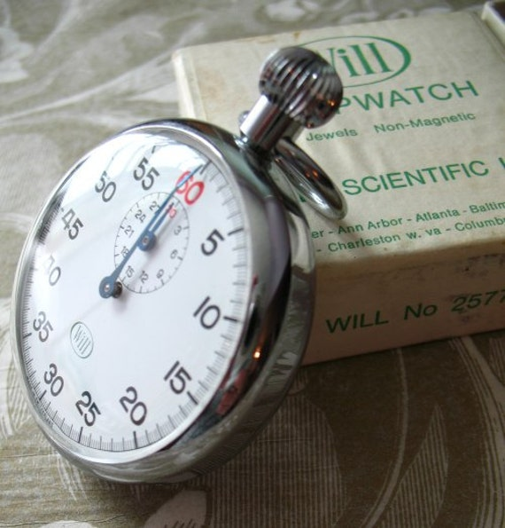 Vintage 60s Stopwatch Swiss Made Will Scientific in Box Mint