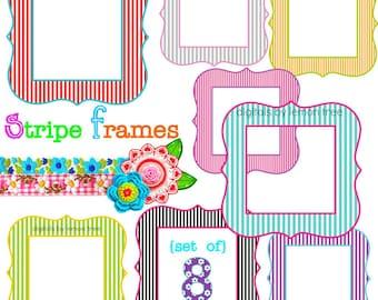 Digital Clip Art -- Stripe Frames (Instant Download)