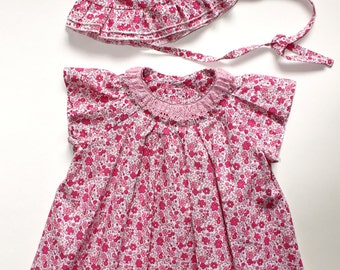 Summer girls dress and panama set D22  baby pink flowers beach birthday /rusteam/ team madcap/