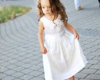 Girls silk/linen dress D31 white special occasion flower girl birthday with lace flowers /rusteam