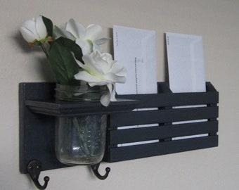 Shabby Chic Nautical Beach Cottage Flower Vase Key ring Mail holder Coat Towel Hat Rack Hanger Hooks in Black