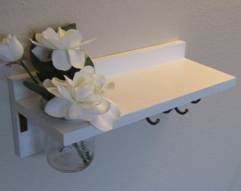 Shabby Chic Nautical Beach Cottage Flower Vase Shelf Key ring and Coat Towel Hat Rack Hanger in Whisper White