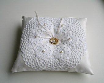 Ringbearer Pillow in Ivory Color With Handcrocheted Vintage Doily  and  Pearls