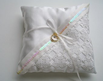Ringbearer Pillow in Ivory Color With Handcrocheted Vintage Lace , ivory Ribbons  And  Sequins