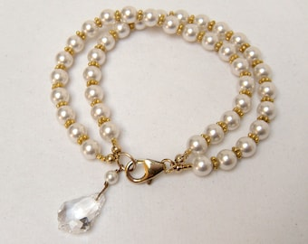 Pearl Bracelet, Bridal Bracelet, Pearl Bracelet Gold, White Pearl Bracelet, Bridal Party Jewelry, Wedding Jewelry - Baroque Whimsy