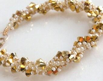 Gold Bridal Bracelet, Bridal Bracelet, Crystal Bridal Bracelet, Wedding Jewelry, Bridal Party Jewelry - Gold Twist Crystal Beaded Bracelet