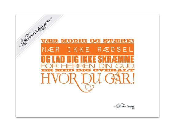 RESERVED LISTING for Lene Cathrine Danish Christian art print Joshua 1:9 13cm x 18cm DIY printable Orange typography inspirational print