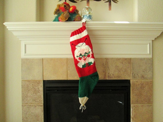Hand Knitted Mrs. Santa Claus Christmas Stocking
