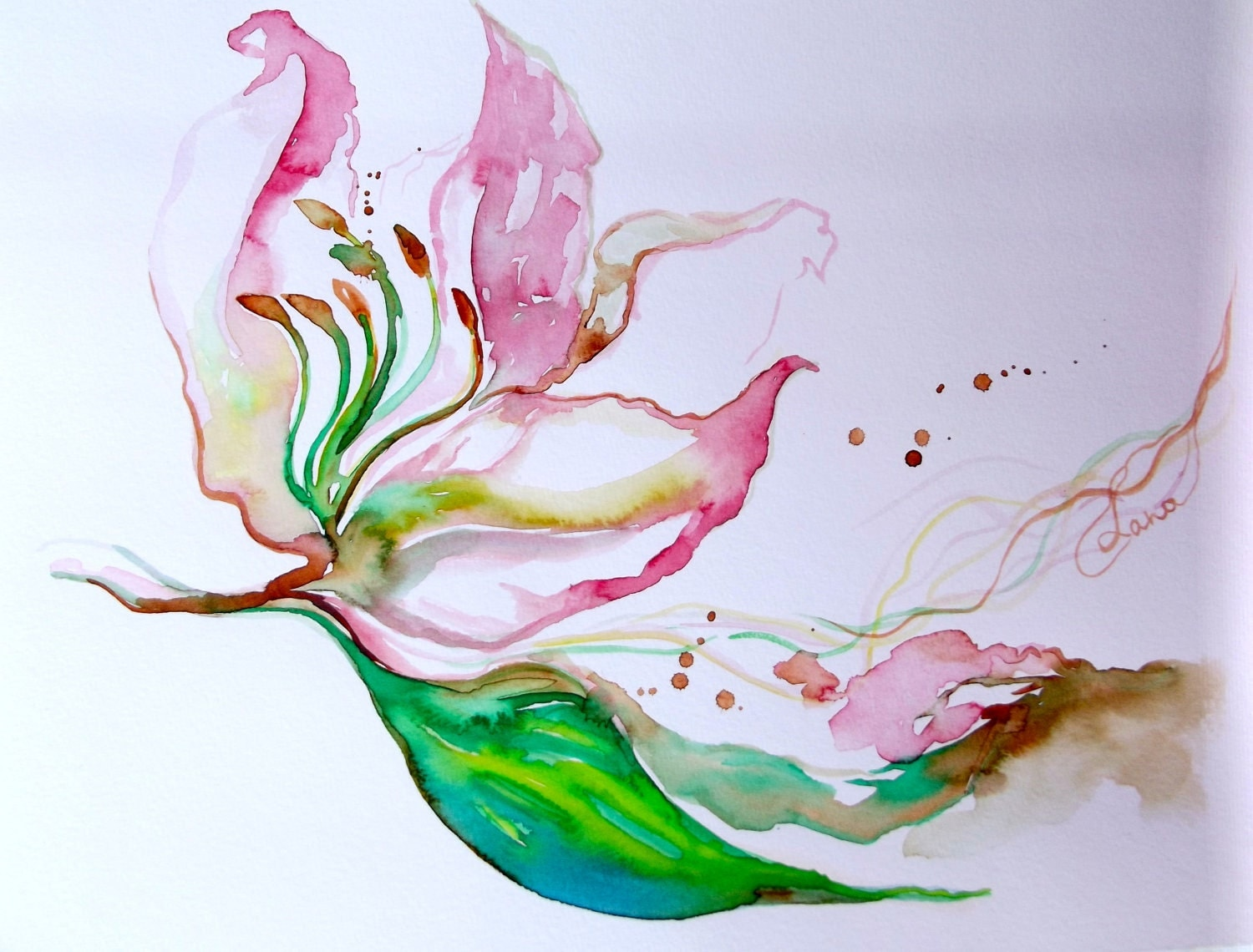 Flowers Painting Abstract Original Watercolor Pink Coral