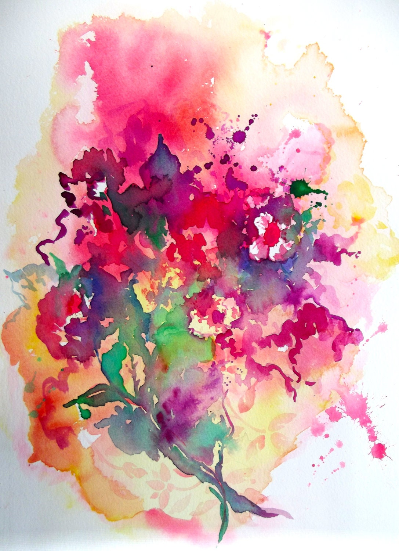 Abstract Floral Original Watercolor Painting Pink by LanasArt