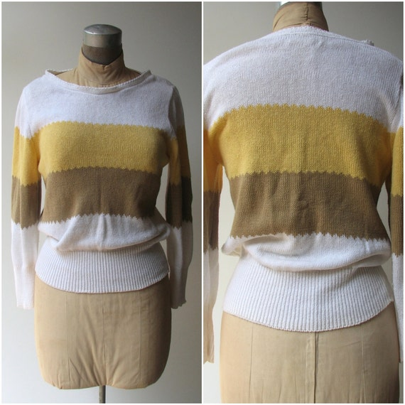 1980s Vintage Sweater / Its Pure Gould large stripes