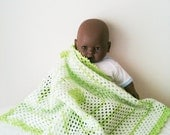 """Crochet Baby Blanket, Afghan,stroller / travel  size in Soft  green and white 31"""" x 31"""""""