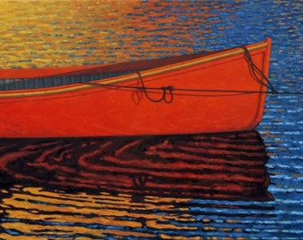 "The Red Boat  12"" x 24"" Stretched canvas print by Paul Hannon FREE SHIPPING Canada & US"