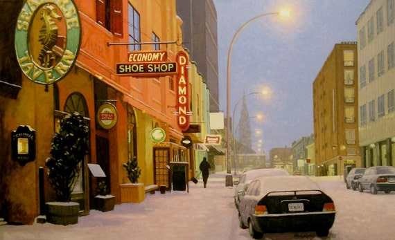 """Light Snow on Argyle Street 16"""" x 26"""" stretched canvas print by Paul Hannon FREE SHIPPING Canada & US"""