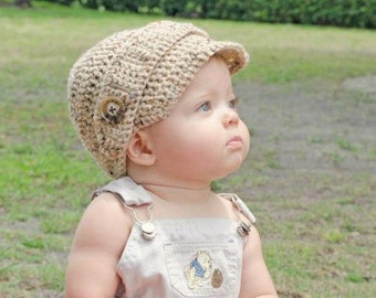 crochet newsboy hat with side button
