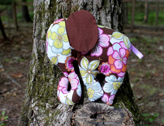 Handmade Stuffed Elephant - Soft Baby Sensory Toy -  Elephant with Crinkle Ears - Animal Toy