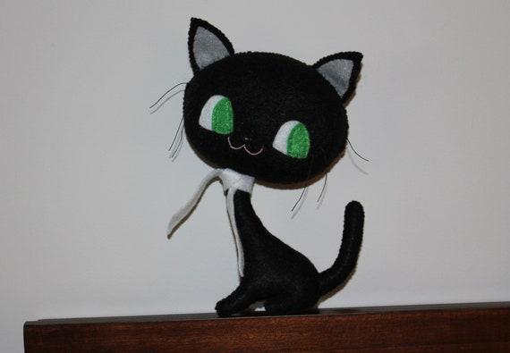 Stuffed Cat Doll -Handmade Black Cat - Plush Cat - Hand sewn Kitty - Soft Toy Cat - Fabric Cat