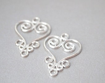 1 Pair, Chandelier Earring Connector, Sterling Silver, Wedding Earrings, Heart Chandelier, Heart Connector, Jewelry Supplies, DIY Supplier,