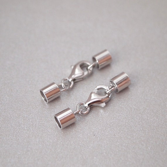 3 Sets, Necklace Cord End Clasp, White Gold over Sterling Silver, Tube, with Teardrop Lobster Claw Clasp, for Size 3mm Cord