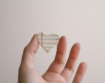Heart Lined Paper Ceramic Brooch