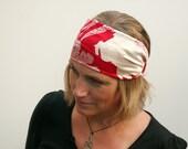 boho style scarlet red and cream silk wide headband