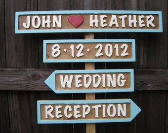 Directional Wedding Signs Wedding Signs (4) - Personalized Wedding Signs -Name, Date, Wedding, Reception and Parking - Routed
