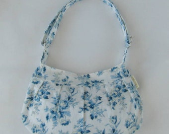 Women's Purse, Pleated Purse, Pleated White and Blue Floral Print Hobo Purse with Adjustable Strap