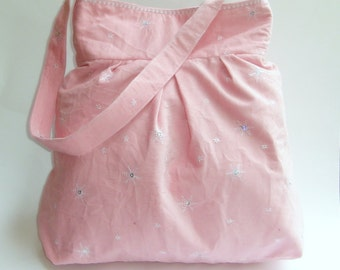 Womens Purse, Pleated Purse, Womens Pink Corduroy Pleated Purse