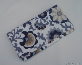 Women's Clutch, Fold Over Clutch, Women's Grey, Tan and Creme Floral Print Clutch