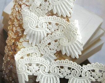 off White Cotton Lace Trim, Scallop Bridal Lace, Vintage lace CMSR045B
