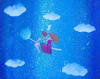 Flying Sisters, Heart Temple Fine Art Painting Print, Home Decor, Nursery, Kids, Baby