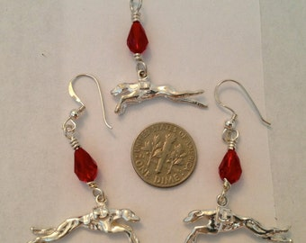 sterling silver and Swarovski crystal greyhound earrings and pendant