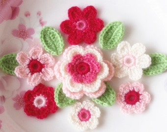 Crochet Flowers With Leaves In Dark Pink, Pink,  Lt pink, Off White Green YH-003-11