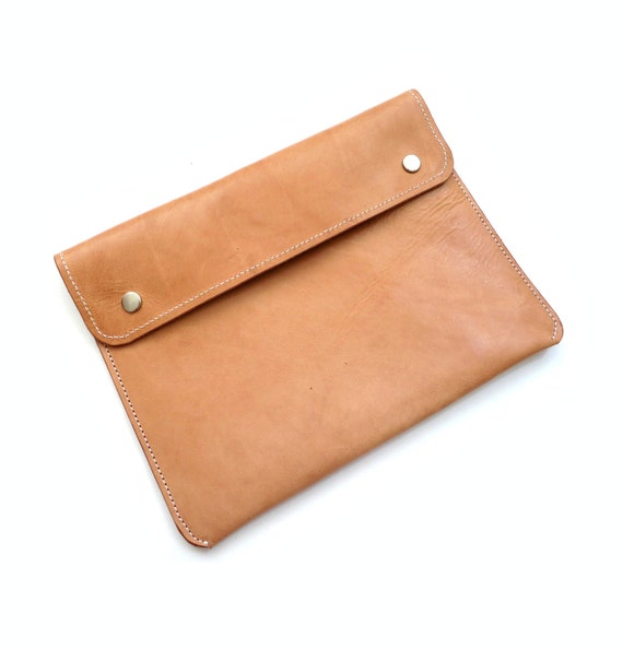 Camel Color Leather ipad Case with Japanese Cloth Lining