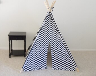 Teepee, Black and  White Chevron Tent, Play Fort Made to Order Pick your Size and Options