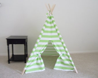 Lime Stripe Kids tent teepee Green Stripe tent , 44 inch wide Play Tent Made to Order