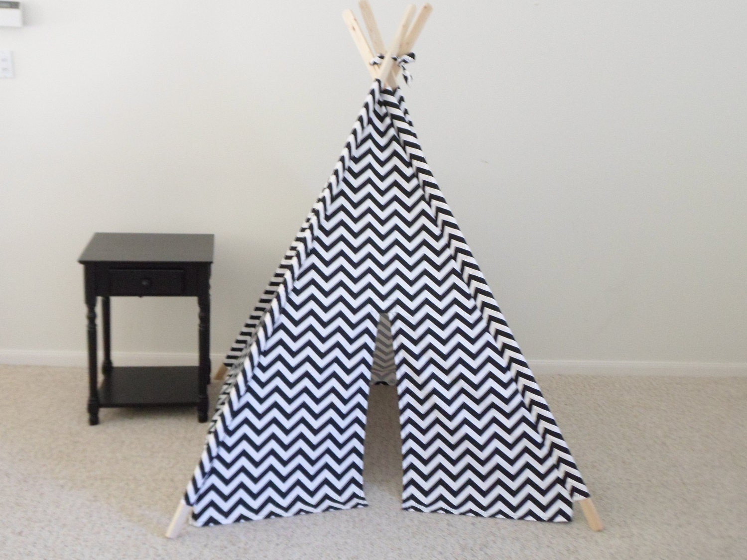 Special Black And White Chevron Teepee Tent Kids Play House