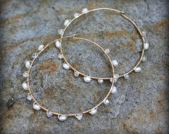 Bridal Hoops, Wedding Earrings, Pearl and Crystal, Wire Wrapped Hoops, Freshwater White Pearls, Clear Swarovski Crystals AD1325X