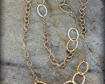 14k Gold filled Multi Chain Necklace, Long 14k Gold filled Necklace AD1321X