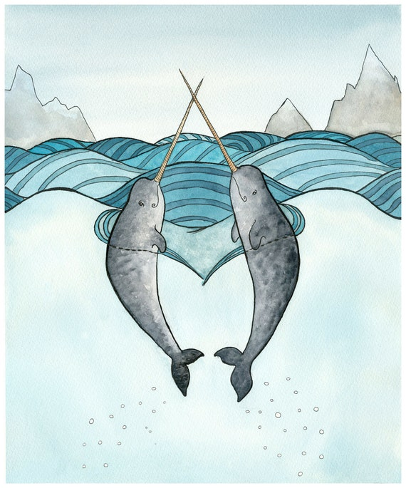 Narwhal Art Print Narwhals In Love Painting By DanielleVGreen