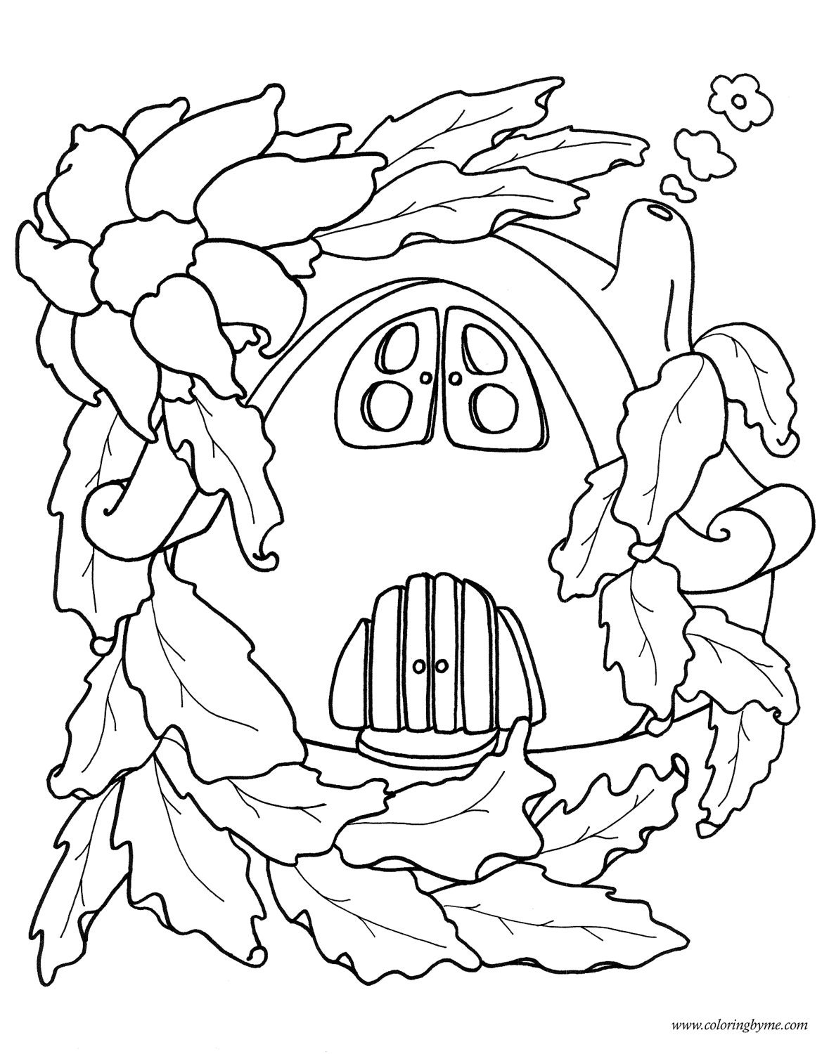 Coloring pages coloring and fairy houses on pinterest for Fairy house coloring pages